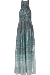 Rachel Zoe Deven Printed Silk Blend Lame Gown Blue