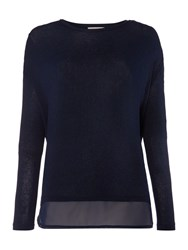 Label Lab Knit And Chiffon Layered Top Dark Navy