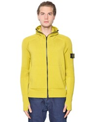 Stone Island Hooded Zip Up Wool Knit Sweater