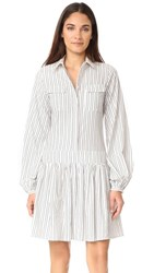Matin Collared Dress White With Black Stripe