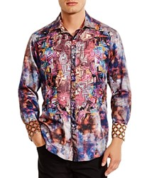 Robert Graham Limited Edition Embroidered Tie Dye Classic Fit Button Down Shirt Multi