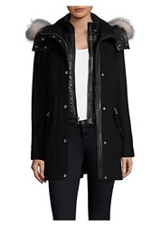 Andrew Marc New York Hooded Wool Dyed Fur Trim Parka Black