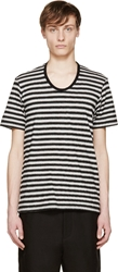 Lad Musician White And Black Striped T Shirt