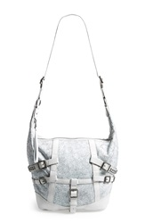 Ash 'Roxy' Belted Leather Crossbody Hobo White Crackle