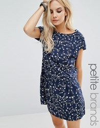 Noisy May Petite Tea Dress In Safety Pin Print Navy