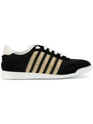 Dsquared2 Sneakers With Gold Detail Women Cotton Leather Foam Rubber 35 Black