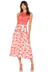 Rebecca Taylor Floral Jacquard Midi Dress Red