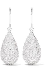 Kenneth Jay Lane Silver Tone Cubic Zirconia Earrings One Size