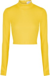 Tanya Taylor Ren Cropped Ribbed Knit Turtleneck Top Bright Yellow