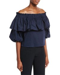 Alexis Barbie Off The Shoulder Ruffle Top Navy