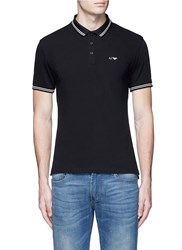 Armani Collezioni Eagle Logo Print Stripe Polo Shirt Black