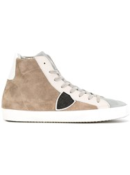 Philippe Model Panel Lace Up Sneakers Nude Neutrals