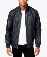 Calvin Klein Men's Faux Leather Bomber Jacket Navy