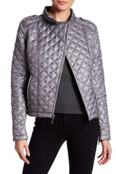 Kenneth Cole Quilted Moto Jacket Gray