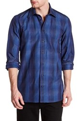 Sebastien James Long Sleeve Print Slim Fit Woven Shirt Blue