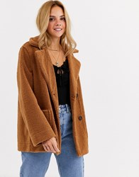 Moon River Teddy Faux Fur Coat Brown