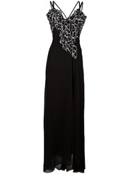 Versace Collection Lace Panel Gown Black