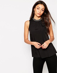 Vero Moda High Neck Sleeveless Top With Embellished Detail Black
