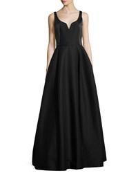 Halston Sleeveless Notched Faille Ball Gown Black
