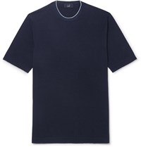 Dunhill Slim Fit Silk Trimmed Knitted Cotton T Shirt Blue