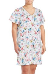 Karen Neuburger Lace Trimmed Floral Nightgown Blue Dot