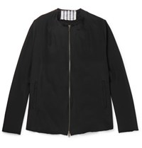 By Walid Liam Collarless Embroidered Silk Jacket Black