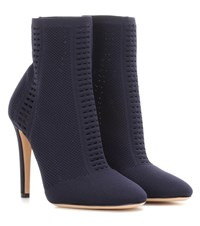 Gianvito Rossi Vires Knitted Ankle Boots Blue