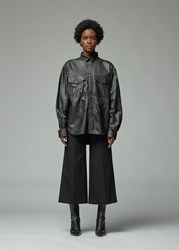 Toteme 'S Novella Leather Shirt In Black Size Small Lambskin Leather Textile Lining