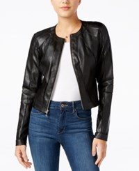 Guess Ivonne Faux Leather Moto Jacket Jet Black