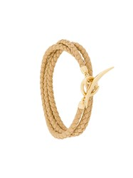 Shaun Leane Quill Wrap Bracelet Leather Gold Plated Sterling Silver Nude Neutrals