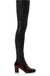 Calvin Klein Miles Matte And Patent Leather Thigh Boots