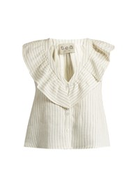 Sea Sleeveless Pinstriped Linen Top Cream