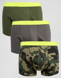 Asos Trunks With Camo Print And Neon Waistband 3 Pack Green