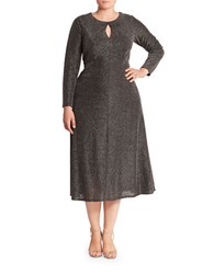 London Times Plus Long Sleeved Keyhole Dress