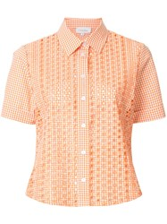 Ck Calvin Klein Embroidered Gingham Short Sleeve Shirt Yellow And Orange