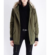The Kooples Faux Fur Hooded Cotton Canvas Parka Kaki