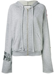 Giada Benincasa Embroidered Boyfriend Zip Front Hoodie Women Cotton Polyester Viscose Metal Xs Grey