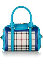 Burberry Little Bee Checked Coated Canvas And Leather Tote Blue