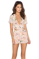 Lucca Couture X Revolve Deep V Open Back Romper Peach