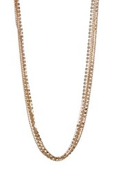 Cara Accessories Glass Crystal Multi Strand Necklace Metallic