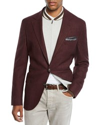 Brunello Cucinelli Prince Of Wales Blazer Red