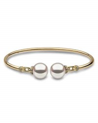 Yoko London 18K Yellow Gold And Pearl Bangle With Diamonds
