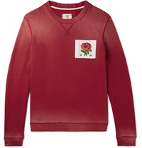 Kent And Curwen Slim Fit Appliqued Loopback Cotton Jersey Sweatshirt Red