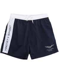 Hackett White Navy Two Tone Aston Martin Logo Swim Shorts With Aston Martin On Back Pockets