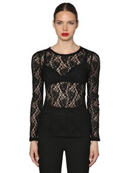 Dolce And Gabbana Stretch Lace Top Black