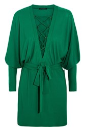 Balmain Lace Up Jersey Mini Dress Emerald