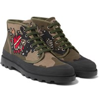 Valentino Appliqued Camouflage Print Canvas Boots Army Green