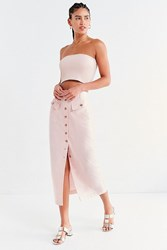 Urban Outfitters Uo Military Button Down Midi Skirt Pink