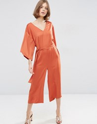 Asos Belted Satin Jumpsuit With Kimono Sleeve Rust Yellow
