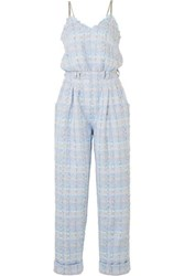 Balmain Metallic Tweed Jumpsuit Blue